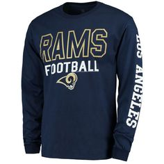 Los Angeles Rams Junk Food Classic Team Sport Long Sleeve 2 Hit T-Shirt - Navy - $25.99