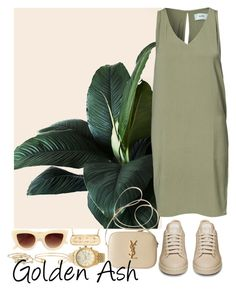 """Beige x Green"" by fashionsetstyler ❤ liked on Polyvore featuring Stella & Dot, Minimum, Michael Kors, Yves Saint Laurent, Quay and London Road"