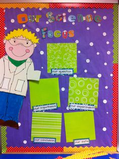 For Science Bulletin Board... Gotta make a cute little guy like this one and purchase some funky lime green scrapbook paper!