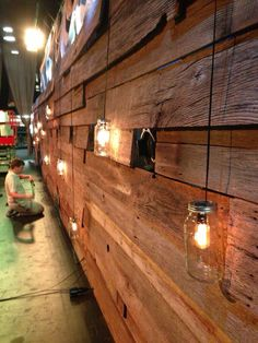 "this could be a really cool idea for a ""front desk"" area, with our logo jutting off of it, Reclaimed Barn Wood & Mason Jars"