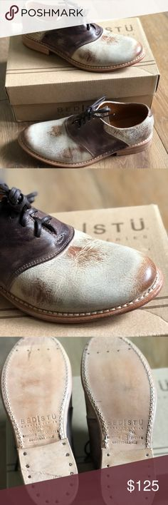 Bed Stu Fury Oxford | NWT Vintage style saddle oxford new with box. Two toned, mixed hand washed leathers and pebble grain wash give this vintage shoe a modern look. Bed Stu Shoes Flats & Loafers