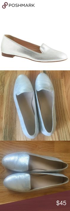 J. Crew Crushed Silver Loafer Crackle/crushed metallic silver loafer from J. Crew. Gently used. Excellent condition with minor wear. J. Crew Shoes Flats & Loafers