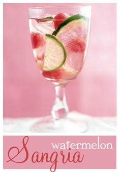 1 bottle dry white wine.  ¾ cup watermelon schnapps. ½ cup white cranberry juice. 2 cups freshly scooped watermelon balls. 2 limes, cut into half-wheels