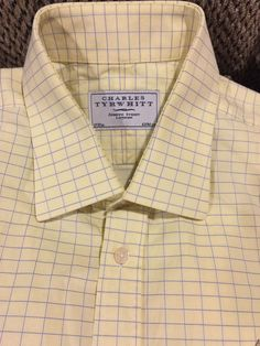 Lot of 2 CHARLES TYRWHITT London Dress Shirt Pink Yellow NON-IRON Size 17 - 37 #CharlesTyrwhitt