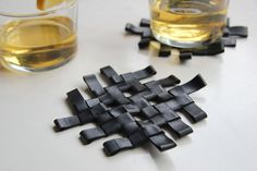 upcycled rubber coaster - made from discarded bicycle tires