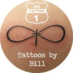 Damara came in and got her first tattoo. Bill put this infinity and cross on her shoulder blade. Now she is already planning her second tattoo. #us1tattoo #infinitytattoo www.us1tattoo.com
