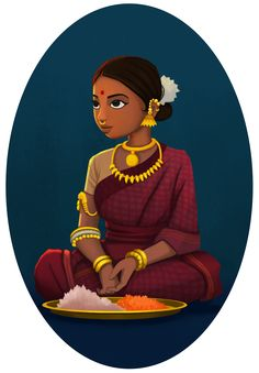 Indian girl selling flowers. Character Design