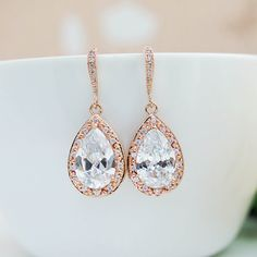 LUX Rose Gold clear white cubic zirconia Halo Style Tear drop Bridal Earrings