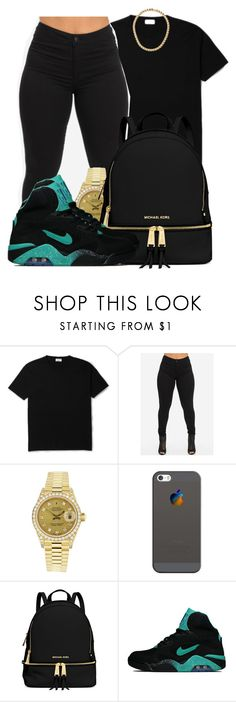 """When you put your body on mine and collide"" by mindlesspolyvore ❤ liked on Polyvore featuring Rolex, Casetify, MICHAEL Michael Kors and NIKE"
