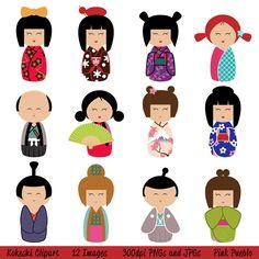 Popular items for kokeshi clip art on Etsy