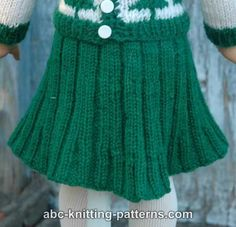ABC Knitting Patterns - American Girl Doll Pleated Skirt.