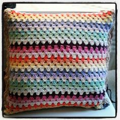 Granny stripe cushion. Still trying to use up all my cotton stash.