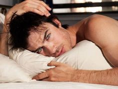Ian Somerhalder. #hot #sexy #famous #celebrity #studly #tvd #vampirediaries #damon #shirtless scruff #eyes #bed