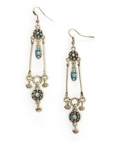 Another great find on #zulily! Gold & Turquoise Elegant Drop Earrings by Treska #zulilyfinds $11.99