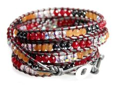 Pretty 4mm beaded wrap bracelet has faceted red and orange beads accented by faceted gray beads and faceted clear iridescent beads on light gray soft leather. Extra long 39 inch length wraps 5x around...
