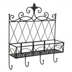 Tuscan Wrought Iron Metal Wall Shelf Wall Planter with Hooks and Fleur-De-Lis