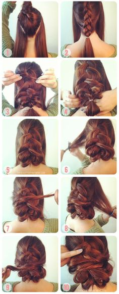 Super easy (as long as you can french braid) and it is easy to do on yourself as well!!! Tip: With shorter hair with layers, you can always do two braids or just dont pull so much. If you take the side pieces and drape them and tease like she says, it is stable and just stick the bobby pins into the firm braid. It will look great!