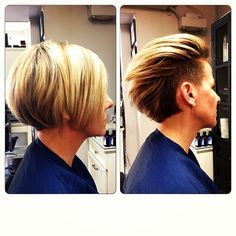 Undercut! Wear it tucked behind the ears for a short look or down for the chin length pixie. This would be so cute - but it's so daring! It's only hair it would grow back! Think I might try it!