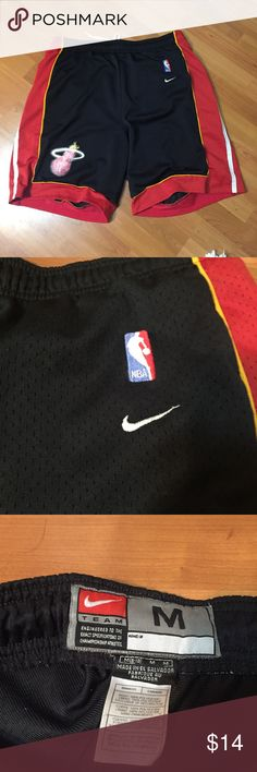 Nike Miami Heat Basketball Shorts Mens Nike Miami Heat Basketball shorts... Size: Medium... Shorts are used but overall in great condition... only flaw is logo is a little faded, but everything else in great Nike Shorts Athletic