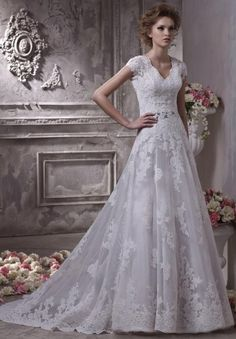Tulle and Satin V-Neck A-Line Elegant Wedding Dress - Bride - WHITEAZALEA.com