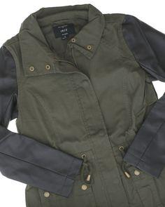 f54c9f3ac787 Harriet Leather Sleeve Military Jacket
