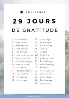 """Un défi """"bonheur"""" de 29 jours pour être plus heureux, plus reconnaissant et se sentir plus épanoui dans notre quotidien. A suivre dès février !"""
