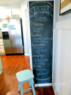 The kids will love adding to this chalkboard menu in the kitchen.