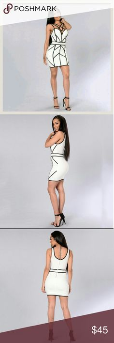 """🎉WKND SALE🎉WHITE N BLACK CAGE FRONT BODYCONE WHITE WITH BLACK BANDAGE DESIGN JUST LIKE PIX ACTUAL ITEM PIX 4 MEDIUM THICK STRETCHY MATERIAL PADDED BUST MEASUREMENTS: ARMPIT TO ARMPIT 18"""" WAIST 15"""" LENGTH 33"""" from shoulder to bottom Dresses"""