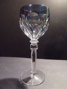 Vintage Blue Cut to Clear Crystal Wine Glass Goblet Hock Germany