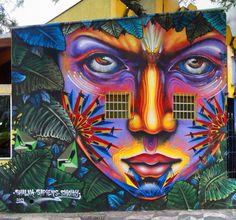 """Aborigen Urbano"" Mural by Shalak, Smoky, Sapiens. Feb 2013 (Rua Ipiranga com rua Araujo, Centro) Street Wall Art, Urban Street Art, Best Street Art, Murals Street Art, Amazing Street Art, Mural Art, Graffiti Art, Graffiti Bridge, Pop Art"