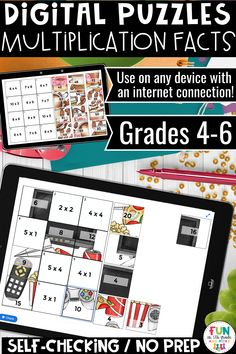 Practice multiplication facts with this digital, no prep, self checking puzzle!  Great to use in the classroom for early finishers, independent or partner work or during distance learning!  The perfect math activity for grades 4, 5