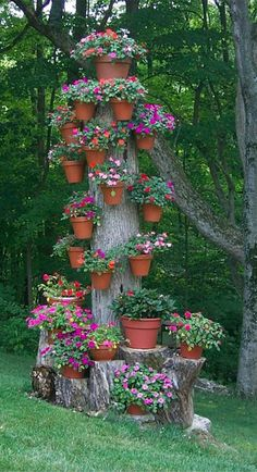 Jardin pegado a un arbol.... See even more at the image link Wind Chimes, Organic Gardening Tips, Advice, Flower Tower, Canning, Outdoor Decor, Home Decor, Diy Flowers, Towers