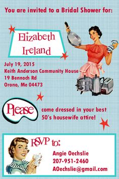 retro housewife bridal shower printable invites by foxyandstylish 50s retro diy more