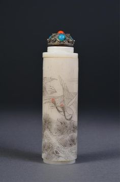 Chinese Incised Bone Snuff Bottle Coral Stopper