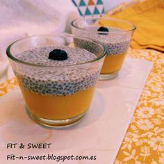 PUDING DE CHÍA Y MANGO Una opción muy sencilla y saludable tanto para desayuno, postre o merienda.  Visitar el blog fit-n-sweet.blogspot.com.es para ver receta.