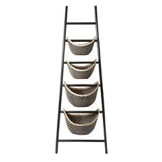With 4 woven rattan baskets, this charming etagere is perfect for displaying an array of faux florals in the living room or stowing out-the-door essentials in your entryway.