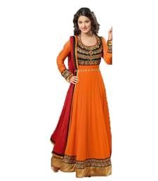 Buy orange georgette embroidered semi_stitched salwar with dupatta anarkali-salwar-kameez online