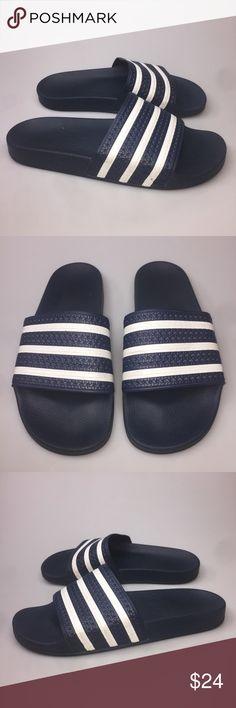 cc45e4dae Adidas Adilette Slide Sandals Mens 10 Blue White Adidas Adilette Slide  Sandals Mens Sz 10