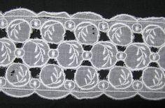 Vintage White Eyelet or Cut Work Trim 25 Inch by VictorianWardrobe, $2.00