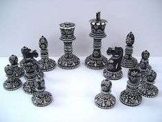 Chess set ** Chess with 32 Ivory chess pieces,  Originating time: end of the fifties / start of the sixties   Country of origin: India / South Asia  All