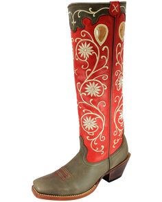"<p class=""MsoNoSpacing"">For the working cowgirl or stylish dresser, these women's Buckaroo 17"" boots with PWS toes have been made to be tough and be fashionable. These genuine leather boot feature fancy vine-like stitching on red shafts and brown overlays at the openings, above bomber-color feet. </p><p class=""MsoNoSpacing"">Soft lining and cushioned footbeds provide much comfort for long wear. Composite shanks offer stability. Pull tabs with ""X"" stitching make for easy pulling on. ..."