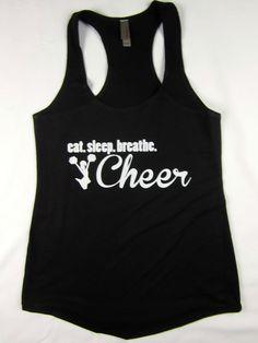 Eat Sleep Cheer women's racerback flowing tank top gym workout black  #1stoptrendshop #GraphicTee