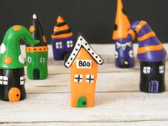 Mini Halloween House Colourful Miniature by MadebyIzzyGifts Halloween Ornaments, Halloween House, Halloween Decorations, Orange House, Black House, Polymer Clay Halloween, Purple Home, Black Spot, Clay Crafts
