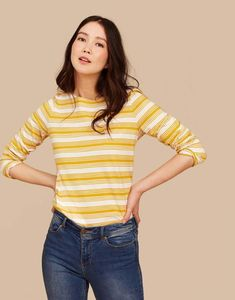 Explore the Joules collection of ladies' tops that is inspired by our British heritage. From t-shirts to jersey tops, shop online with us now. Long Tops, Long Sleeve Tops, Long Sleeve Shirts, Women's Tops, Joules Clothing, Striped Jersey, Gold Stripes, T Shirts For Women, Clothes For Women