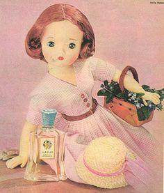 1950s Mme Alexander Cissy doll in Yardley #vintage #ad