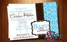 Giraffe Baby Shower Invites (YOU PRINT)