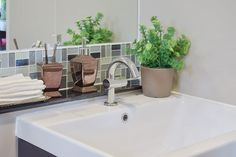 10 Tile Ideas For Small Bathrooms And Cloakrooms - Tiling Advice Bathroom Red, Bathroom Plants, Wooden Bathroom, Large Bathrooms, Bathroom Wallpaper, Bathroom Signs, Bathroom Colors, Bathroom Ideas, Small Toilet