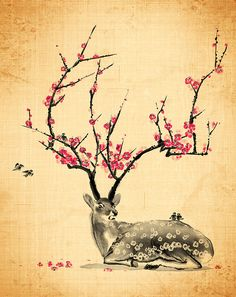 Blooming by T. Zhang One of my all-time favourite illustrations, now the skin… Illustrations, Illustration Art, Graffiti, Deer Art, Stag Deer, Art Asiatique, Tattoo Motive, Poster, Japanese Art