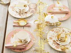 gold & pink china