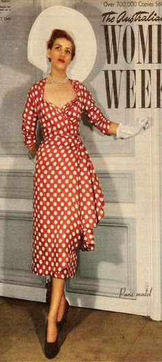 The Australian Women's Weekly - red polka dot dress Pin Up Dresses, Trendy Dresses, 1940s Vintage Dresses, Red Polka Dot Dress, Princess Prom Dresses, Jeanne Lanvin, 40s Fashion, Headband Hairstyles, Vintage Hairstyles